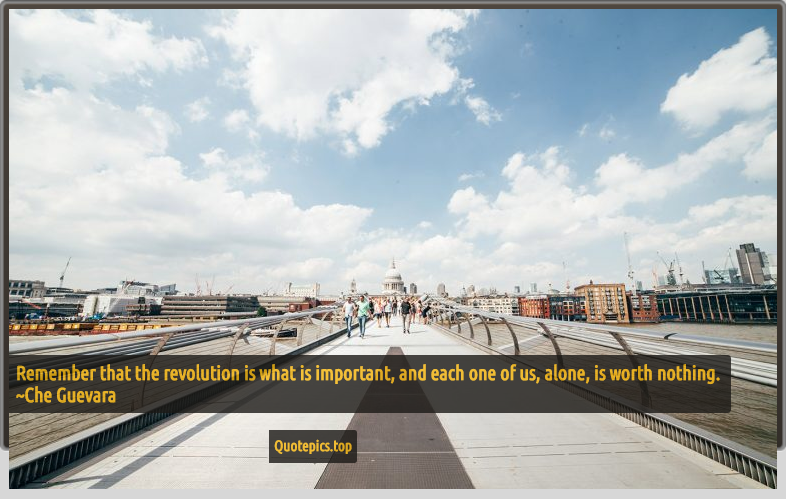 Remember that the revolution is what is important, and each one of us, alone, is worth nothing. ~Che Guevara