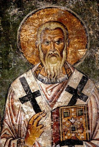 Святитель Евстафий, Архиепископ Антиохийский. Фреска храма Святой Софии в Охриде, Македония. 1037 - 1056 годы.