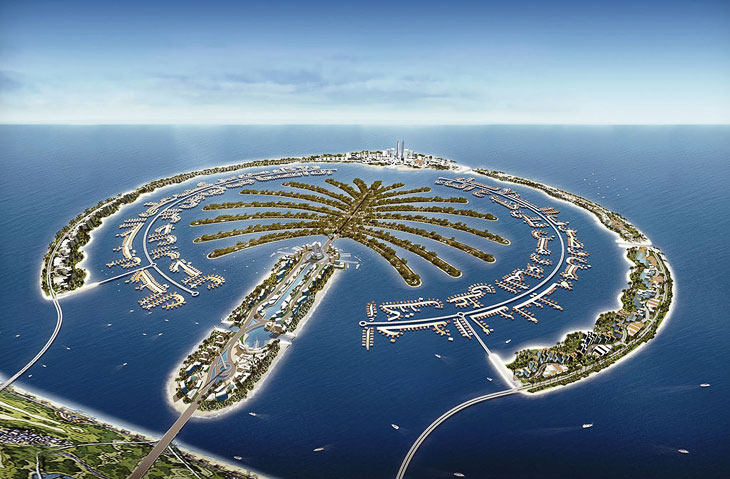 Начнем с пальмовых островов. Они находится в ОАЭ, в эмирате Дубай. В состав архипелага входят