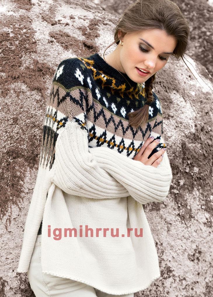 Теплый пуловер-накидка с жаккардовой кокеткой. Вязание спицами