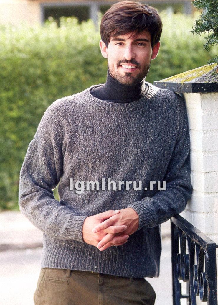Мужской шерстяной пуловер со структурным узором. Вязание спицами