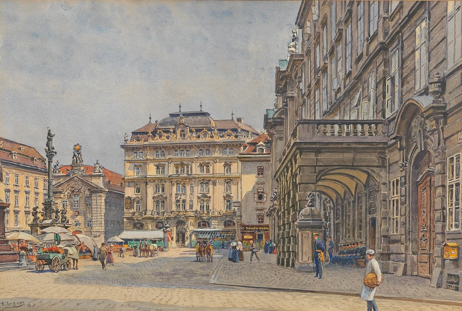 Square Am Hof, with market and military staffage , 1910.