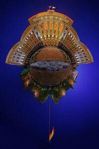 Галактический крейсер панорама, ночь, микропланета, Чебоксары, город, polar, coordinates