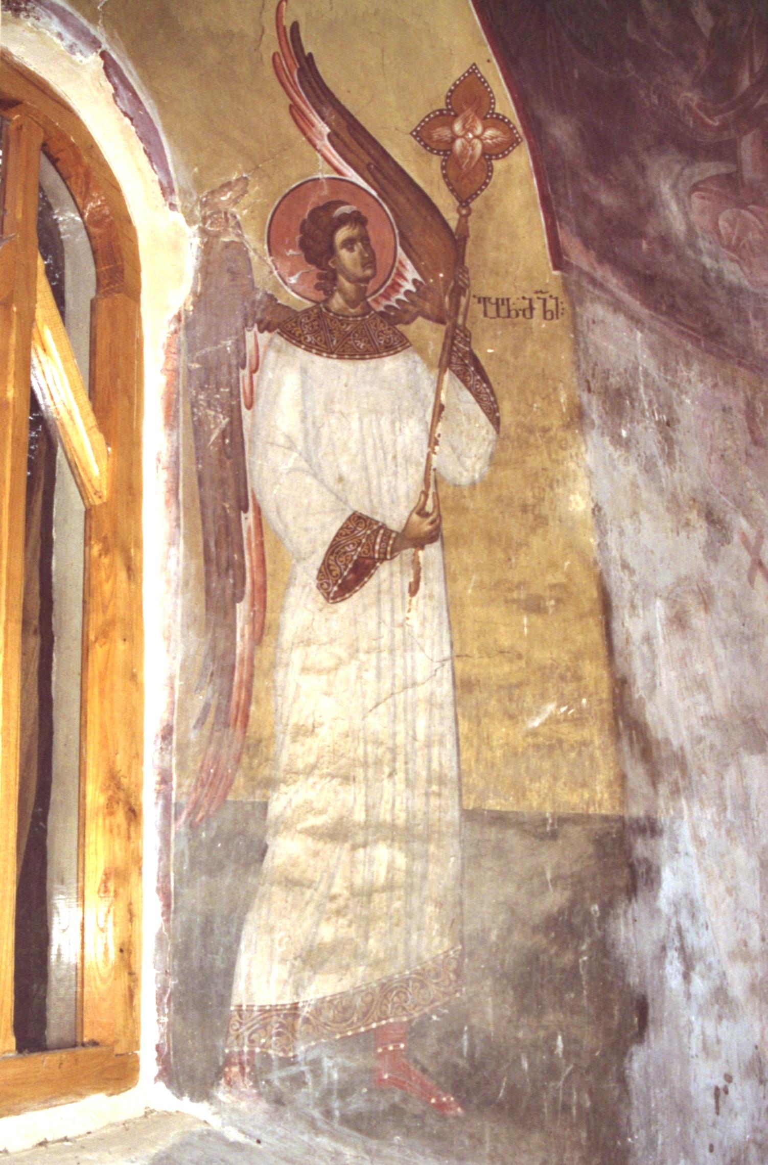 Ангел-диакон. Фреска XIV века в церкви Св. Георгия в Убиси, Грузия. Иконописец Герасиме.