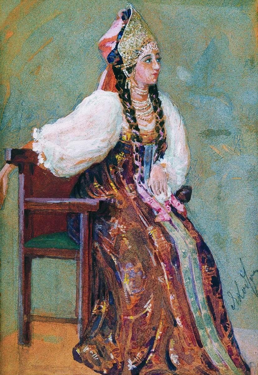 Боярышня вторая половина 19 века, бумага, акварель, 13.5 х 19.5 <i>Омский областной музей имени Врубеля.jpg