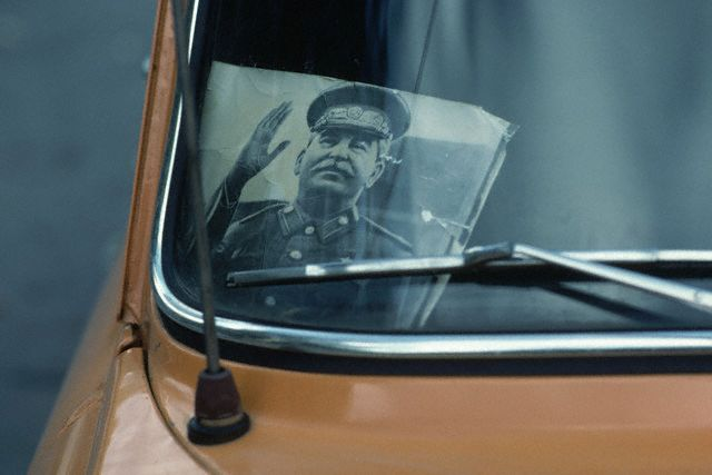 Stalin Portrait in Taxi Window