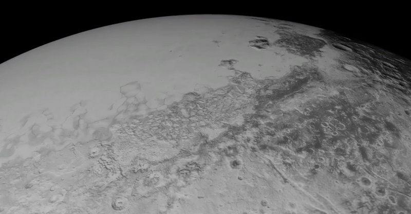 Показано видео пролета New Horizons между плато Спутник ирайоном Ктулху Плутона