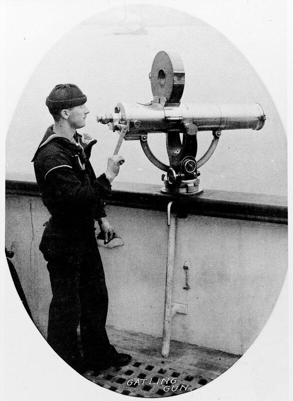 USS CHICAGO (1889-1935) Photo taken on board about 1889, of a Gatling machine gun