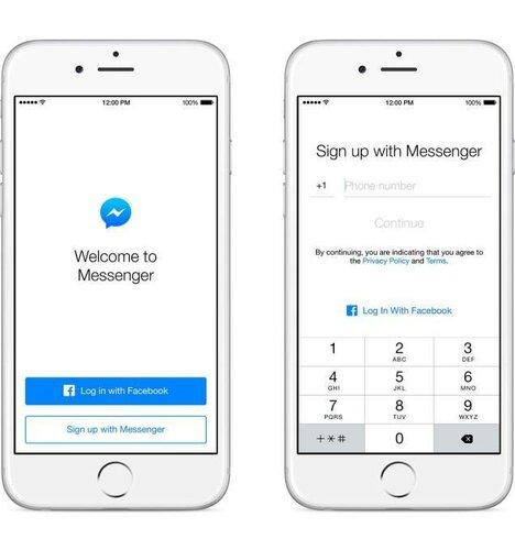 Не зарегистрированные в Facebook пользователи могут воспользоваться Messenger