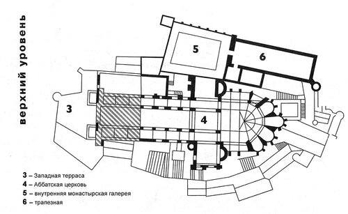 Аббатство Мон-Сен-Мишел, план верхнего уровня