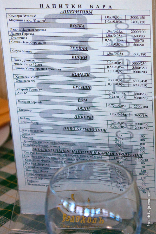 Ценник на напитки в баре на теплоходе «Санкт-Петербург»