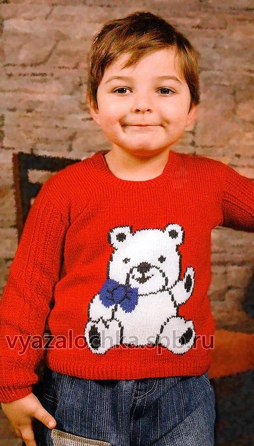 Красный детский свитер с рисунком
