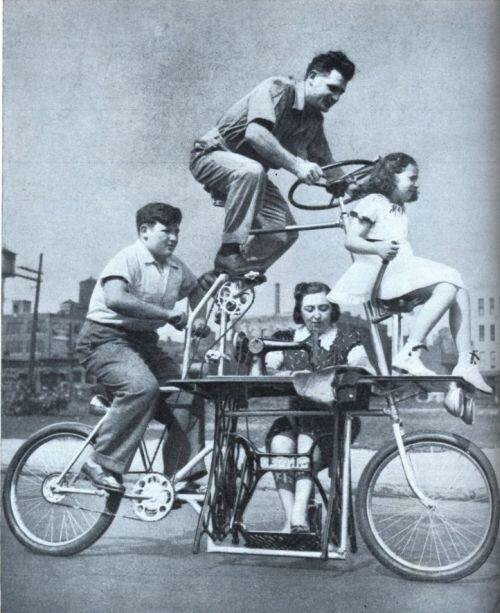 Семейный велосипед со швейной машинкой (США, 1939)