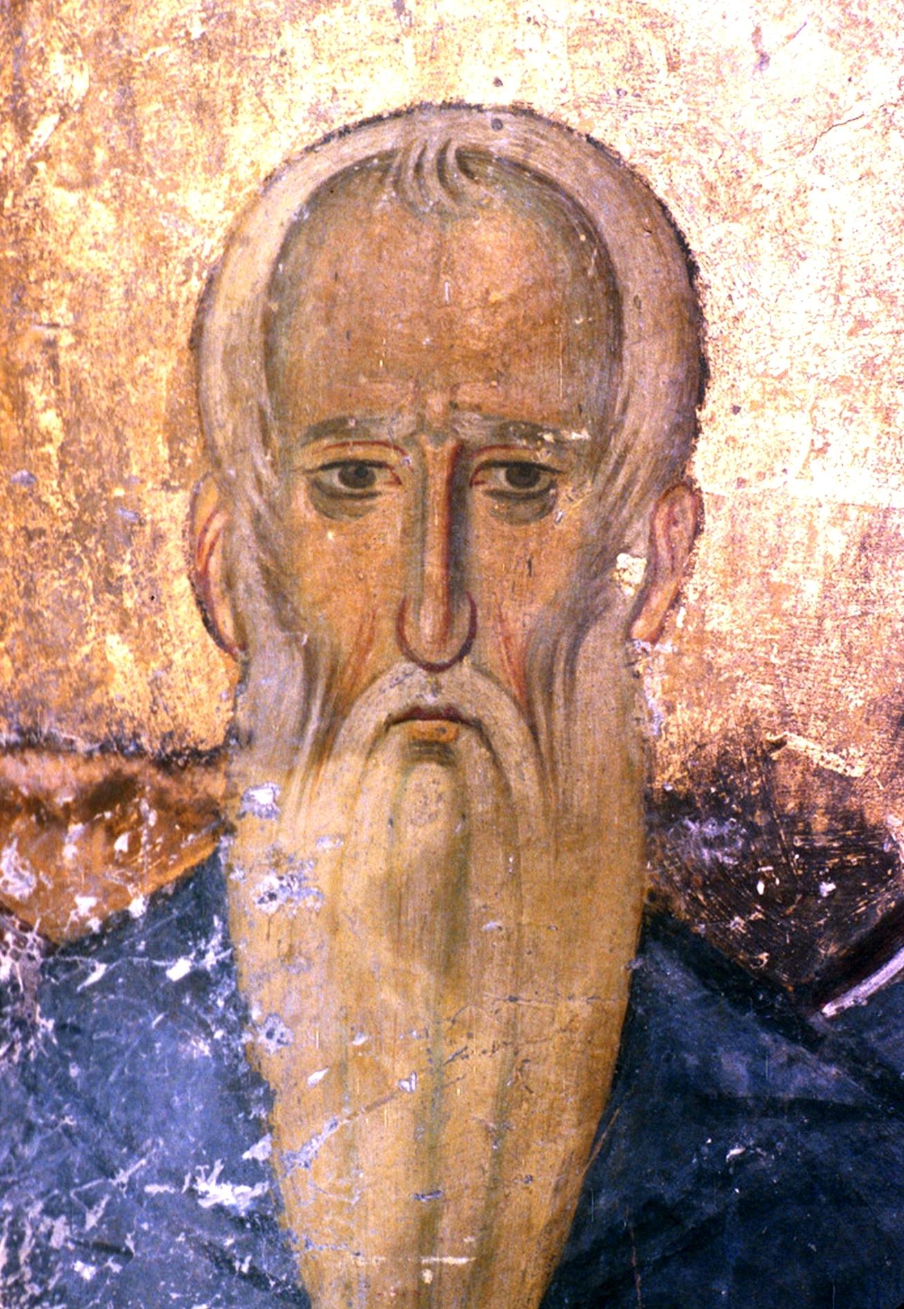 Святой Преподобный Иларион (?). Фреска церкви Богородицы в монастыре Студеница, Сербия. 1208 - 1209 годы.