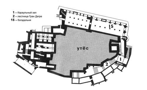 Аббатство Мон-Сен-Мишел, план нижнего уровня