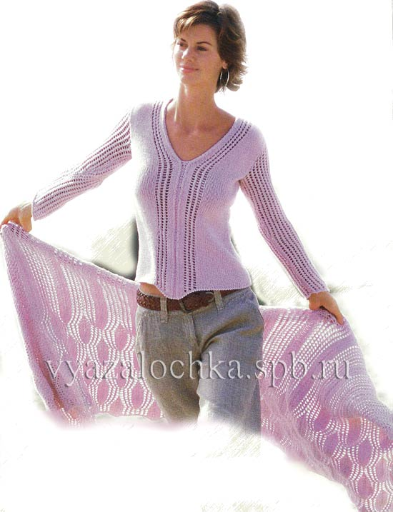 пуловер и палантин спицами