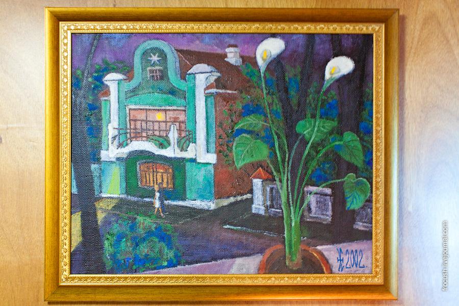 Картина в двухместной каюте первого класса на главной палубе №208 теплохода «М.В.Ломоносов». Автор картины Эдуард Николаевич Есенкин