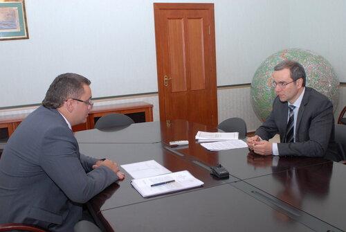 рабочая встреча губернатора области Д.В.Зеленина с главой администрации Максатихинского района В.В.Елиферовым