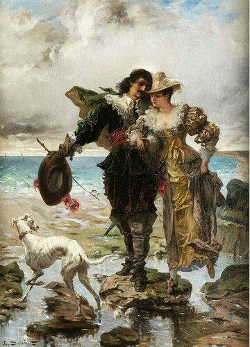 Edmond-Louis Dupain - Romantic Scene on the Сoast