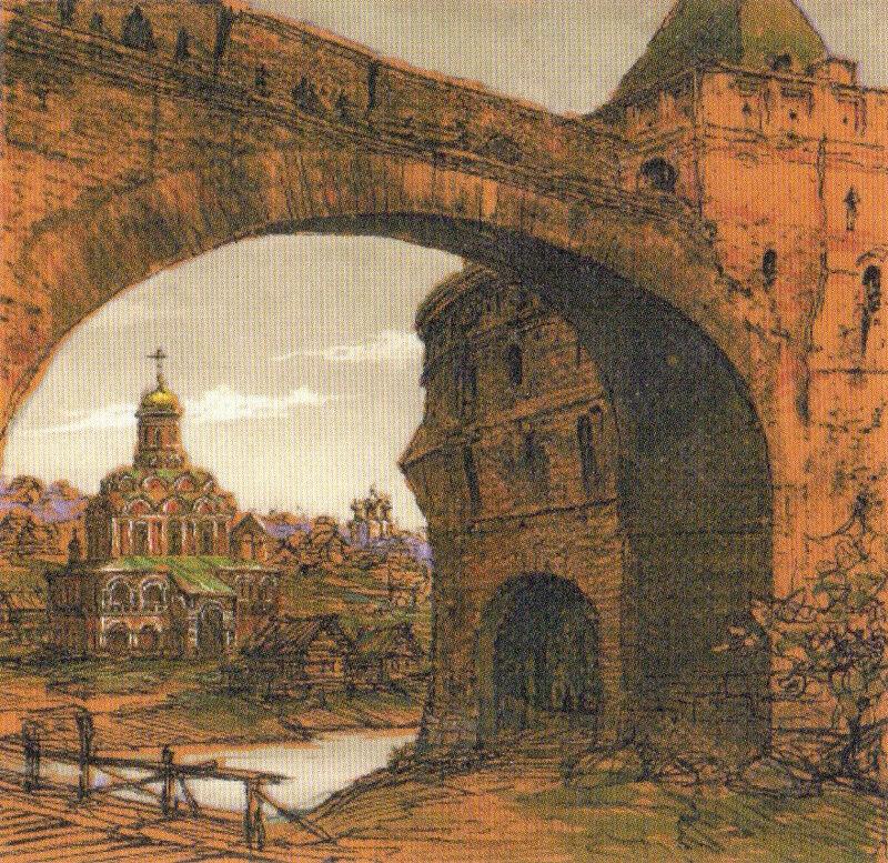 Вид на ц. Всех Святых на Кулишках из проломных Варварских ворот Китай-города в к.17 в. В.А. Рябов. 2006
