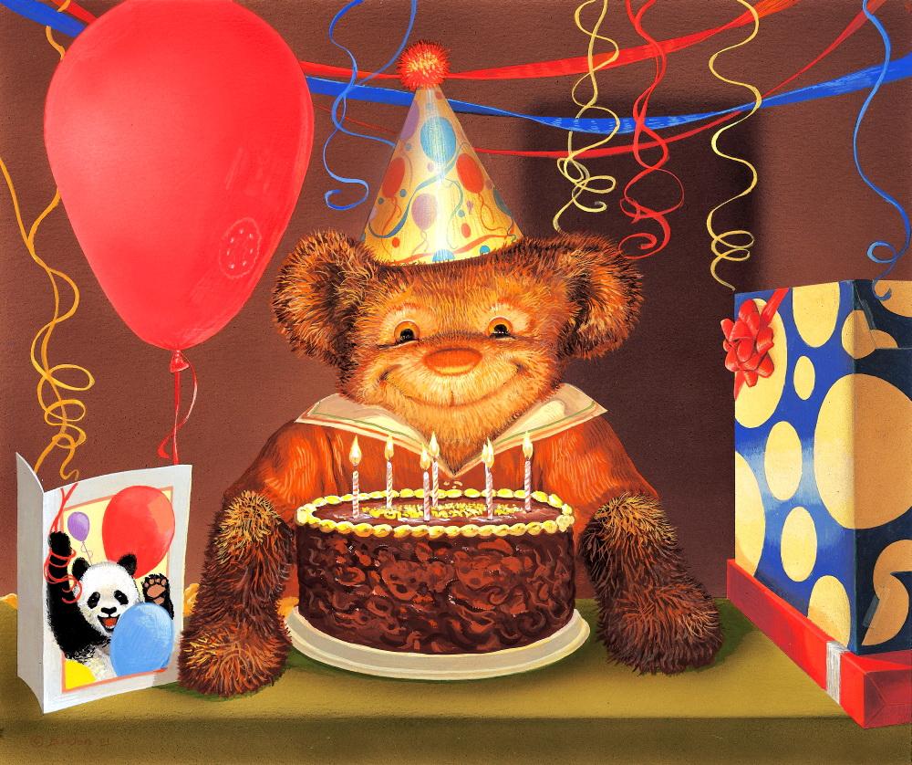 Открытка с медведем на день рождения