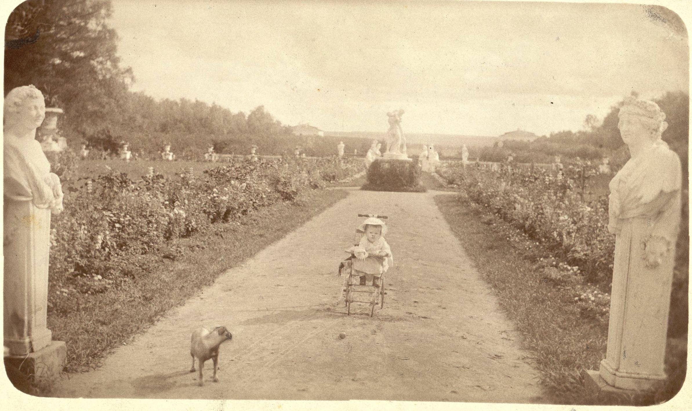 Верхняя терраса. В коляске маленький Николай Юсупов. Рядом домашняя собачка. 1884