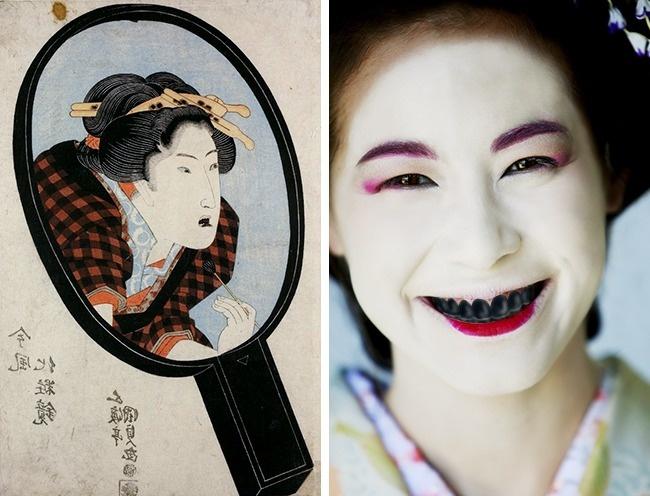 © Utagawa Kunisada/wikipedia  © EAST NEWS     Охагуро— японская традиция чернить з