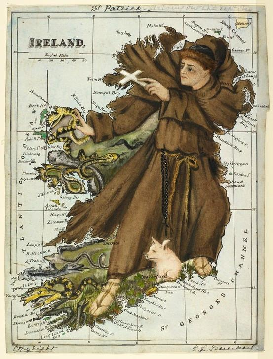 Caricature map of Ireland showing St. Patrick commanding all the reptiles to leave Ireland..jpg