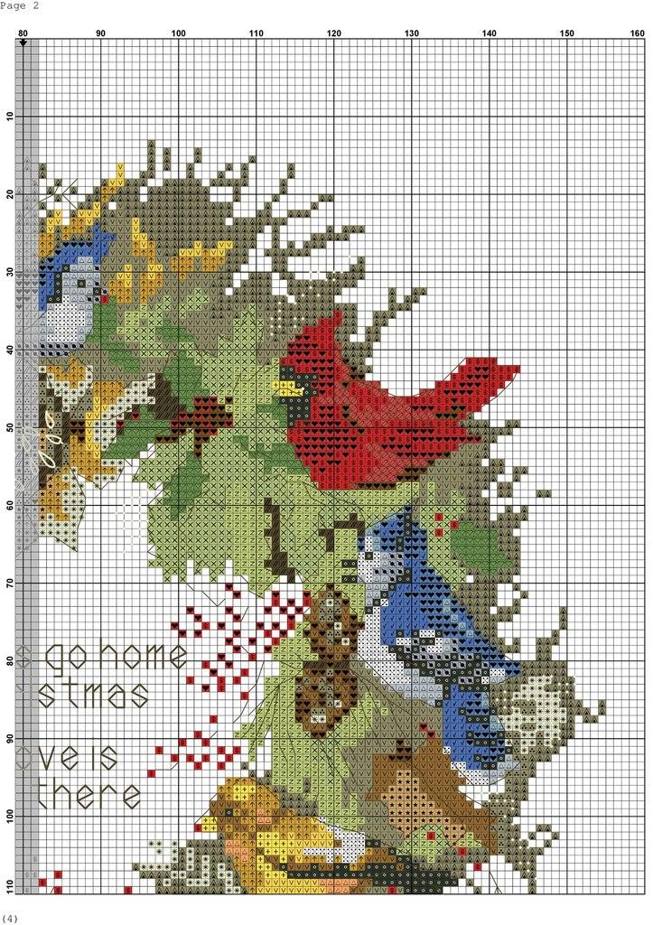 Схема вышивки крестом подушки птицы