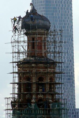 Ремонт колокольни после пожара