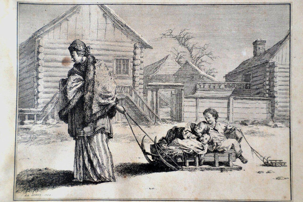 Прогулка зимой. (В России на санках) Лепренс Жан-Батист. 1764