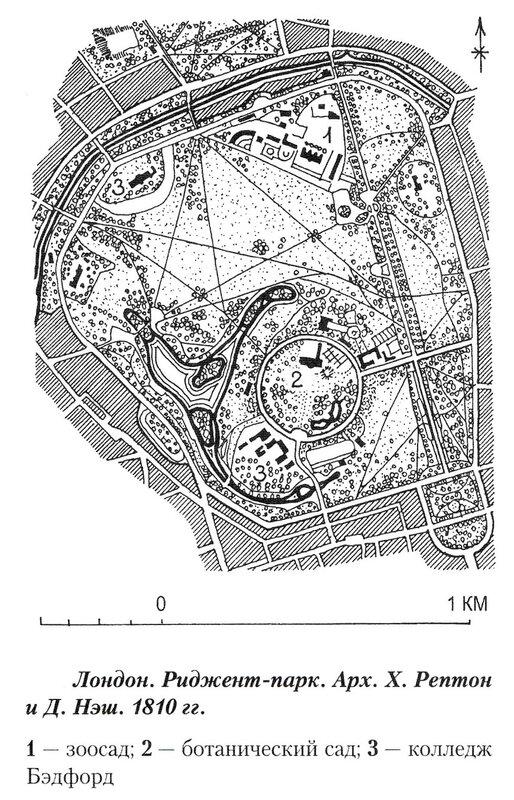 Риджент-парк, план с основным зонированием
