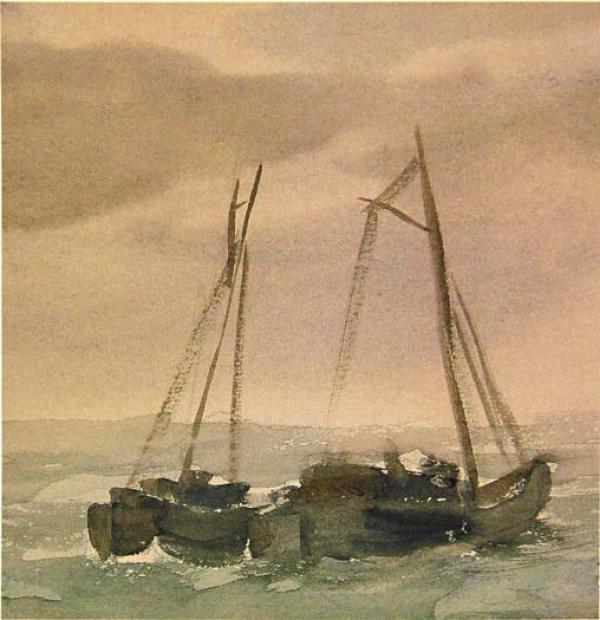 Серый день. Лодки. 1930-е.