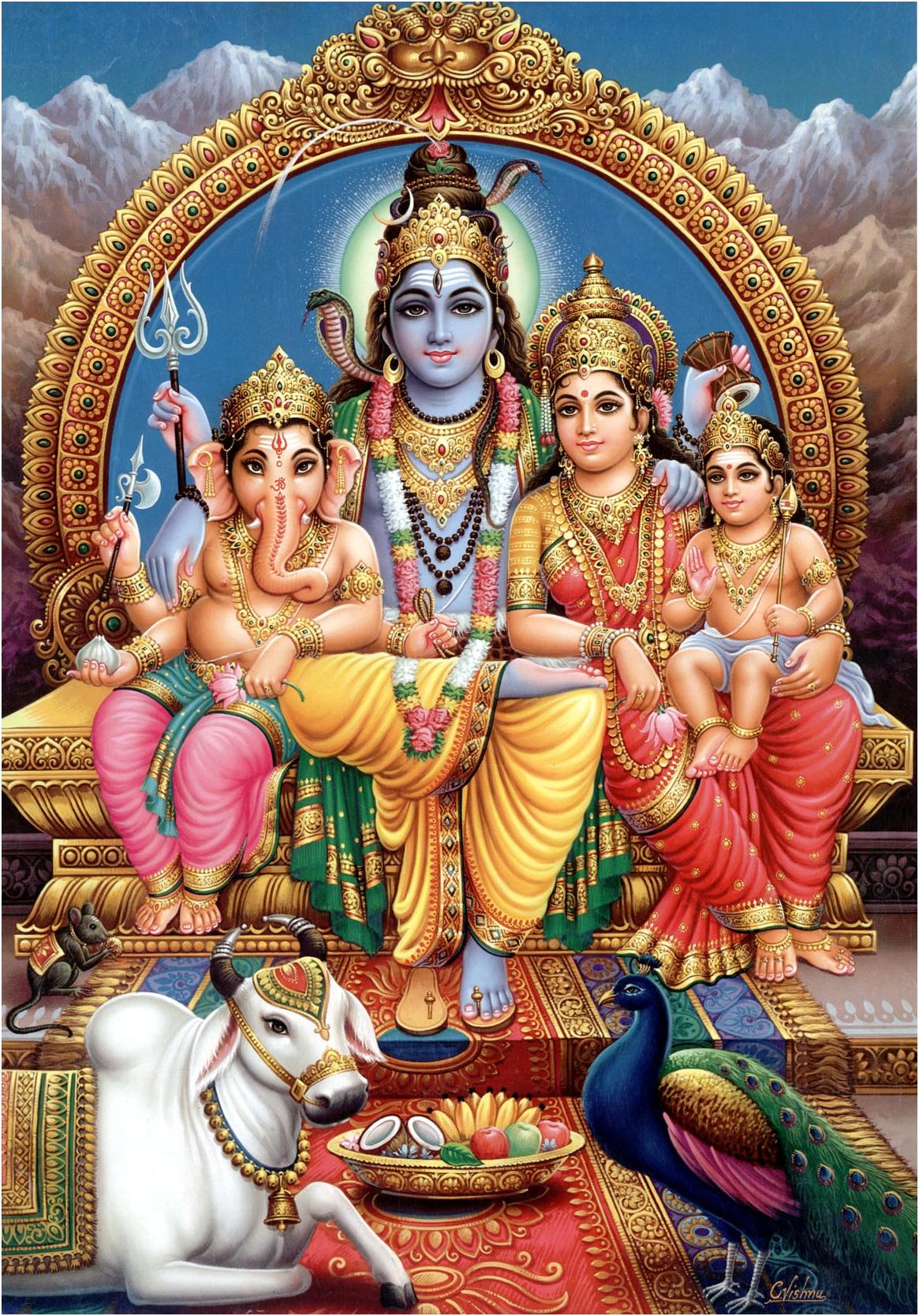 Бог Шива в семейном кругу