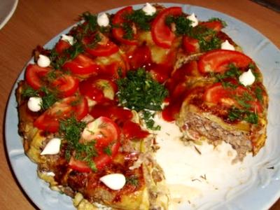 Запеканка из кабачков с оливками и помидорами