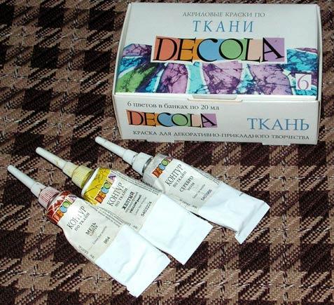краски и контуры для росписи ткани