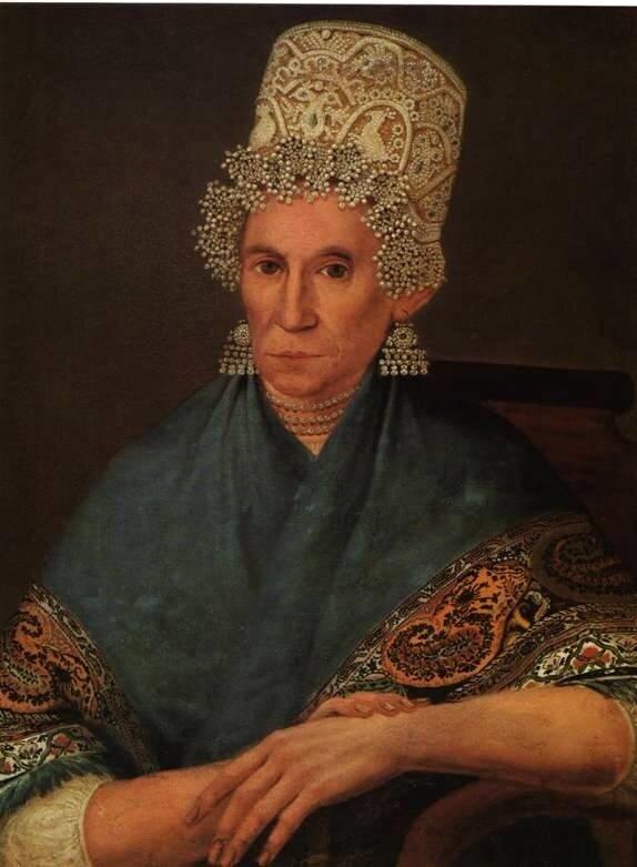 Неизв. художник первой половины XIX века. Портрет пожилой купчихи.