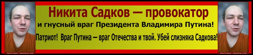 Никита Садков, провокатор и гнусный враг Президента