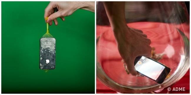 Результат: Презерватив действительно непропускает воду, недавая телефону намокнуть, носенсор экра