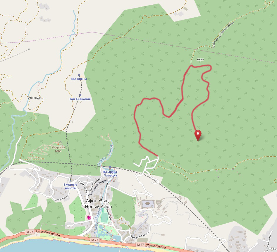 карта маршрута на вершину горы Акун к паровозу