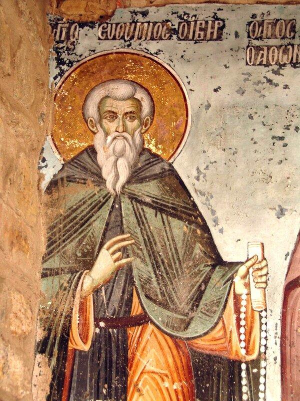 Святой Преподобный Евфимий Новый, Иверский, Афонский. Фреска. Афон.