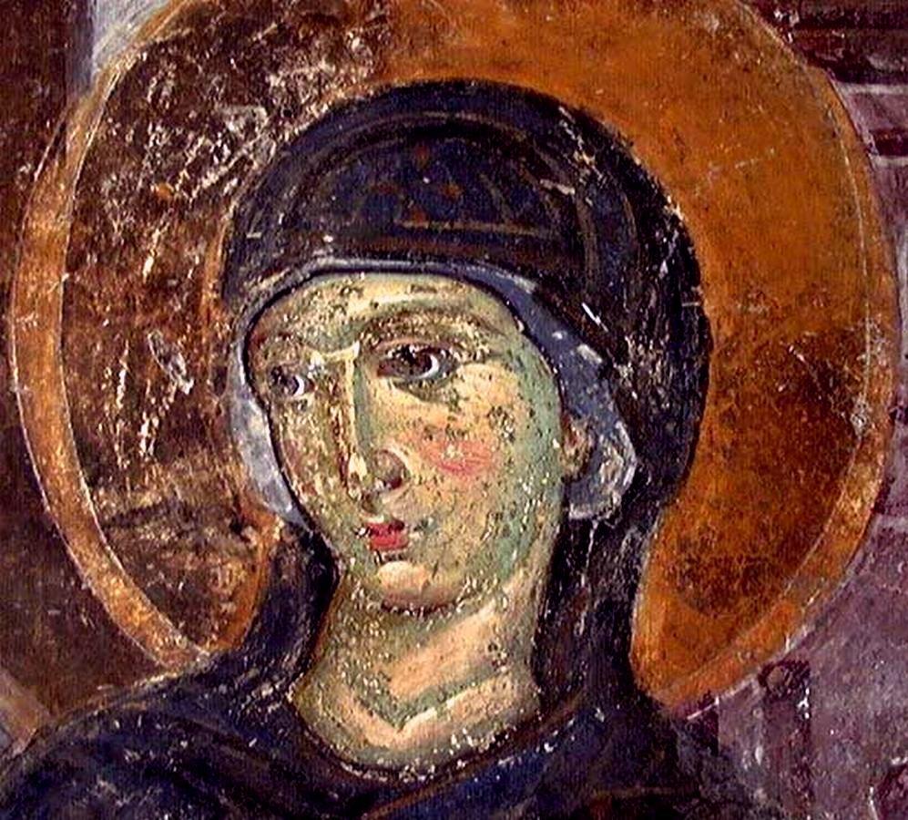 "Пресвятая Богородица. Фрагмент композиции ""Благовещение"". Фреска монастыря Милешева (Милешево), Сербия. До 1228 года."