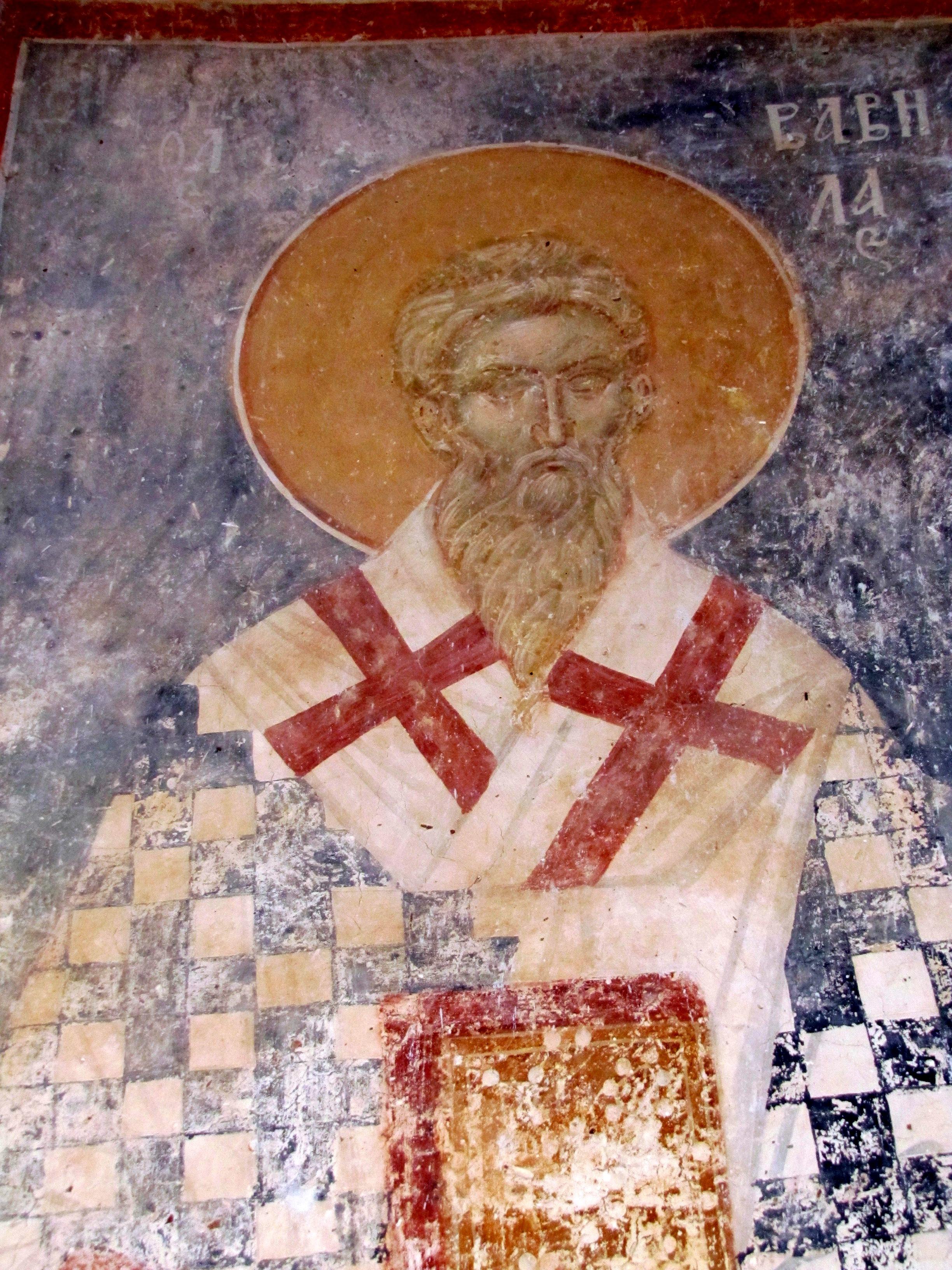 Священномученик Вавила, Епископ Великой Антиохии. Фреска церкви Богоматери в Матейче, Македония. 1356 - 1360 годы.