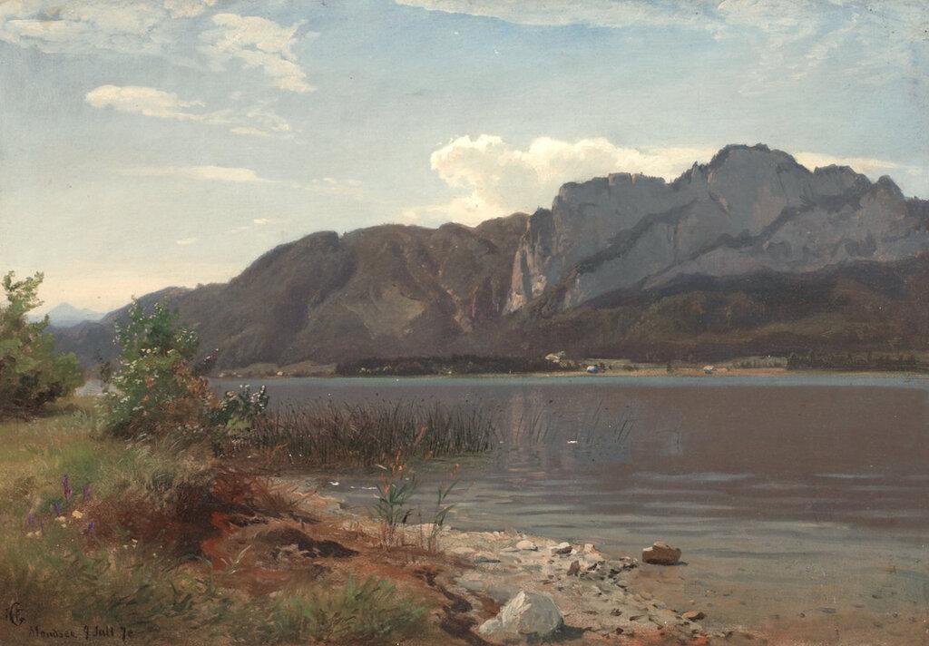 Hans Gude - Landskap fra Drachenwand ved Mondsee (1870)..jpg