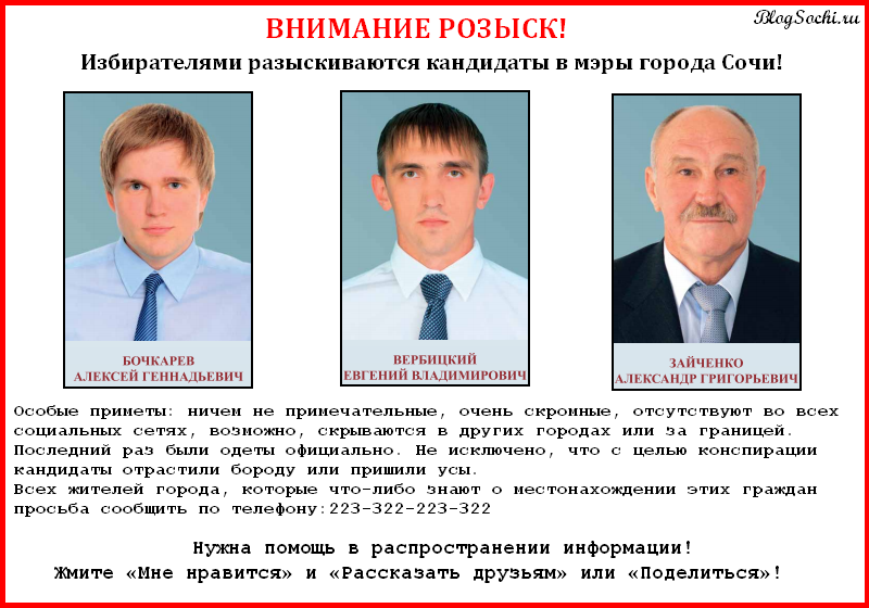 Кандидаты в мэры Сочи