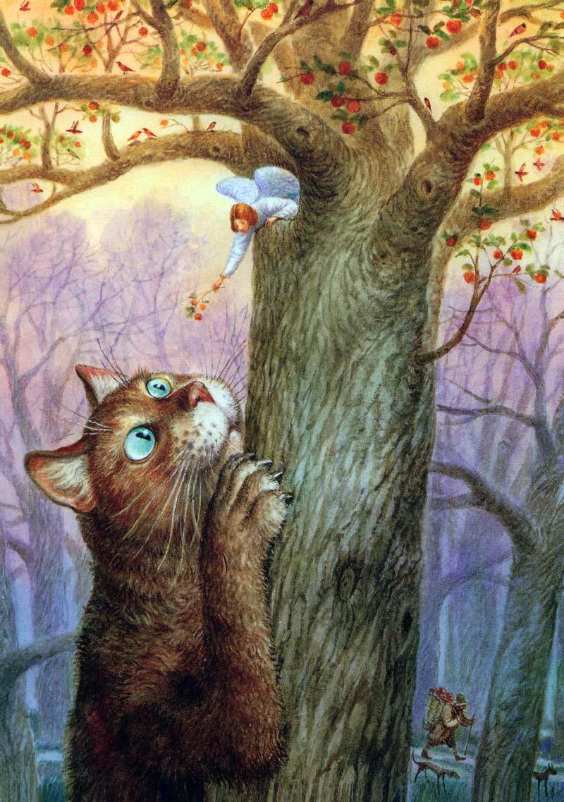 Кот и ангел рисунок