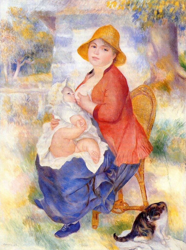 Женщина кормит ребёнка 1886г