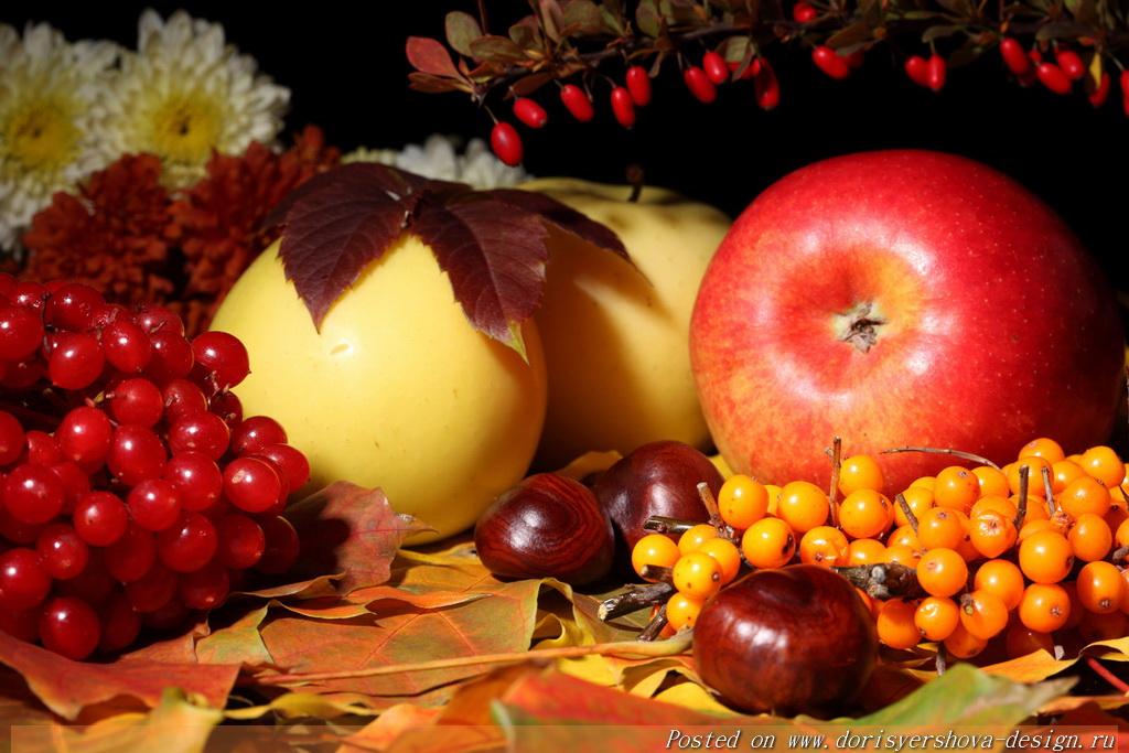 осень. фрукты, яблоки, калина, каштаны