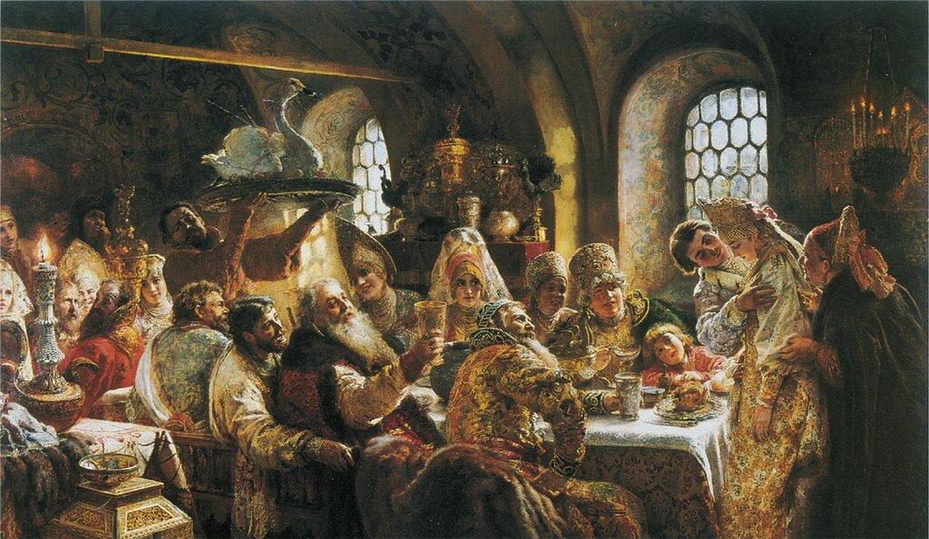0568.Makovskiiy.Konstantin.Boiarskiiy.svadebnyiy.pir.v.XVII.veke.1883.holst.maslo.236h400.sm.jpg