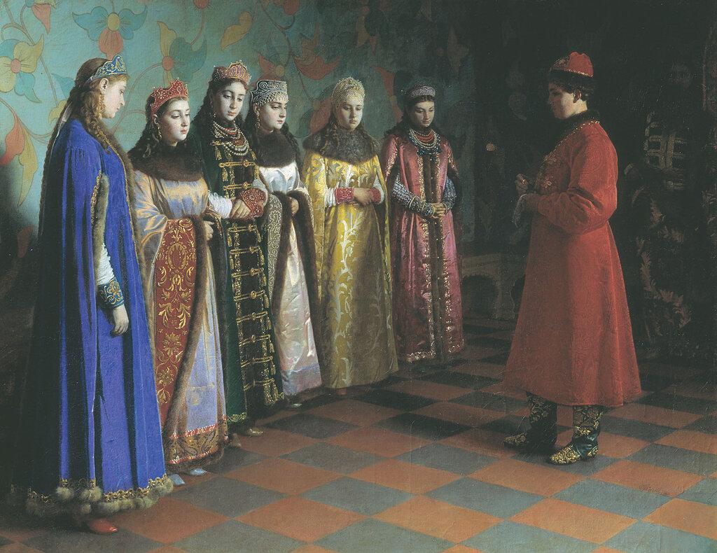 0861.Sedov.Grigoriiy.(1836-1886).Vybor.nevesty.cariem.Alekseem.Mihaiylovichem.1882.holst.maslo.jpg